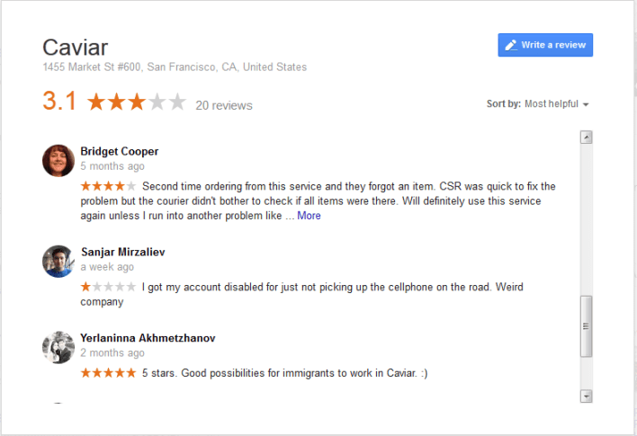 cavier google review