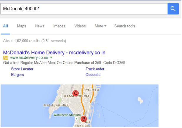 Location Search Using Google