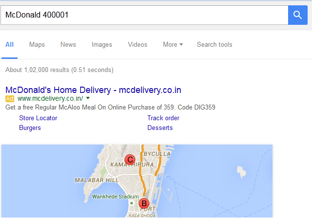 Location Search Using Google