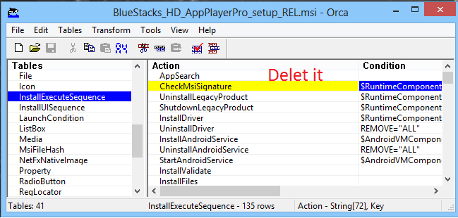 Edit bluestacks setup in Orca