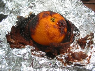 Orange filled with cake