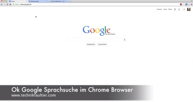 Ok Google Sprachsuche im Chrome Browser