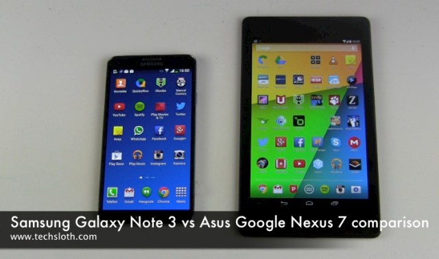 Galaxy Note 3 vs Google Nexus 7 Vergleich