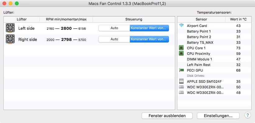 Update für kostenlose Lüftersteuerung Macs Fan Control