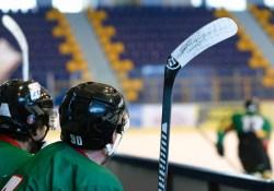Des joueurs de hockey sur le banc