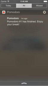 """screen shot of Pomodoro application that reads """"Pomodoro: Pomodoro #1 has finished. Enjoy your break!"""""""
