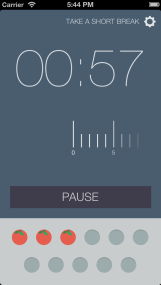 screen shot of Pomodoro application timer with 00:57 showing