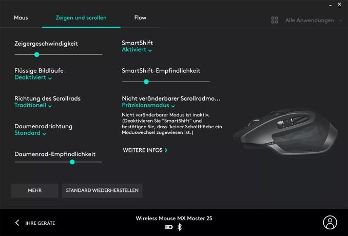 Logitech MX Master 2S - Logitech Options - Zeigen und Scrollen