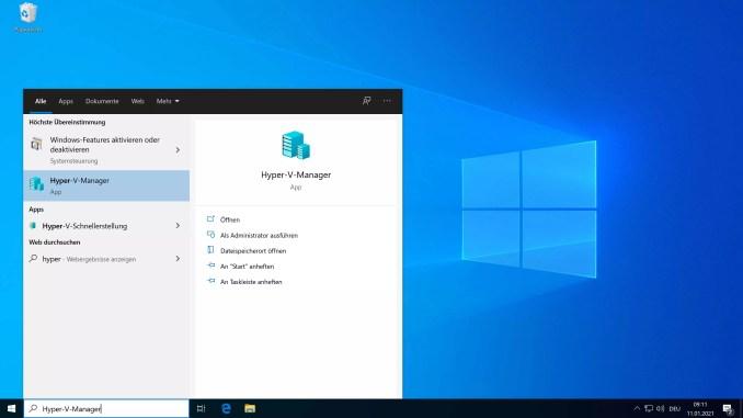 Windows 10 Hyper-V installieren - start Hyper-V