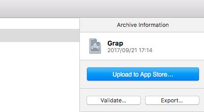iTunesConnectにバイナリアップロードするのはアプリケーションローダーの方がいいかも。