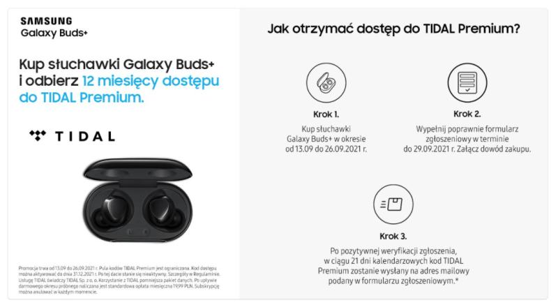 TIDAL Premium do słuchawek Galaxy Buds