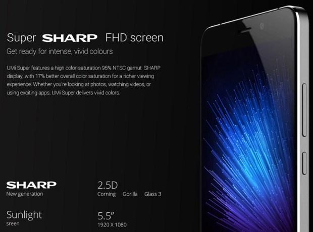 شاشة هاتف UMI Super 4G Phablet