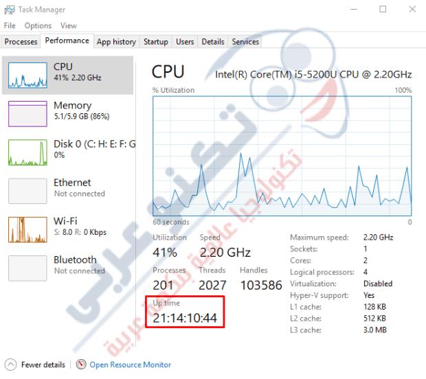 عدد ساعات تشغيل الكمبيوتر