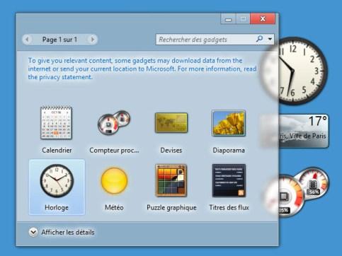 Gadgets في ويندوز 10