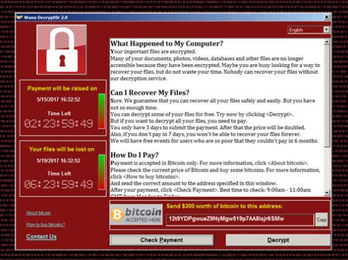 فيروس تشفير الملفات WannaCry