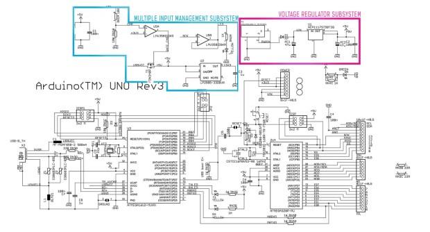 Arduino Uno power supply subsystem