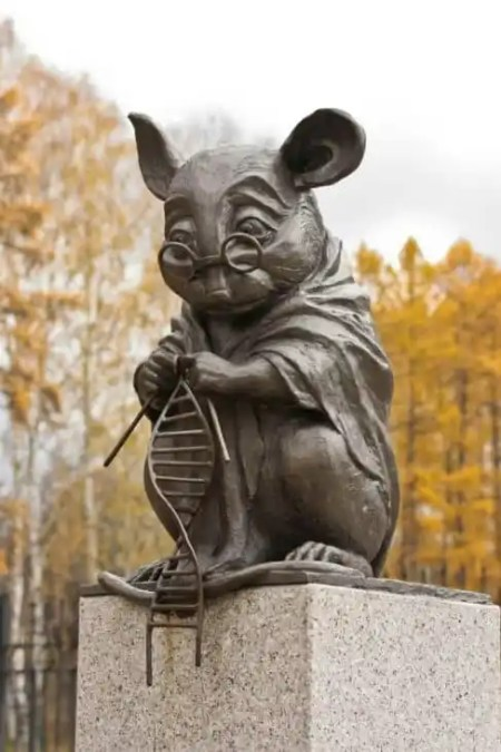 lab mouse statue russia