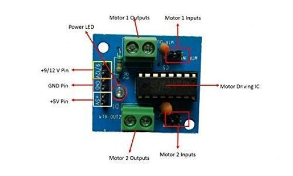L293D motor driver circuit with all parts outlined