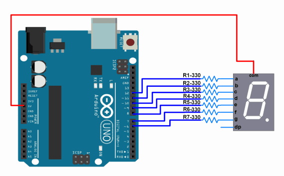 7 segment display interfacing with arduino circuit