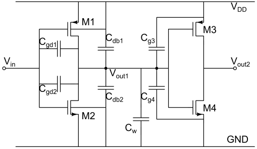 Components of load capacitance due to different parasitic capacitance in the MOSFETs