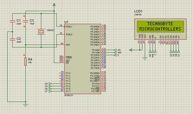 Circuit diagram to interface LCD module in 4-bit mode with 8051
