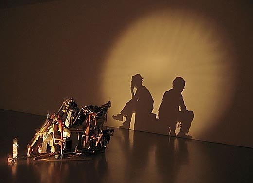 shadow art from garbage