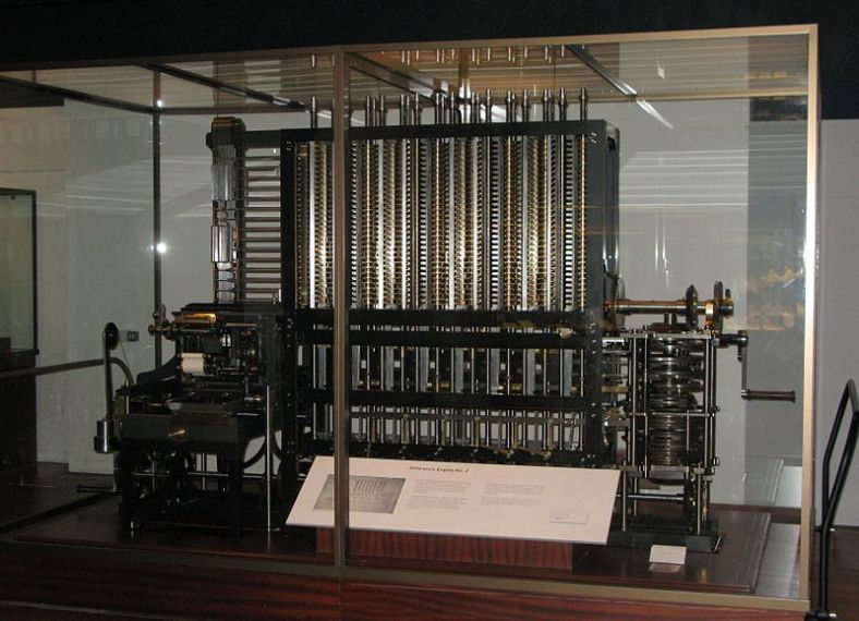 A photo of the Difference Engine constructed by the Science Museum based on the plans for Charles Babbage's Difference Engine No. 2