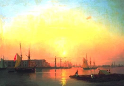 Ivan Aivazovsky -  Exchange  of Peterburg - 1847