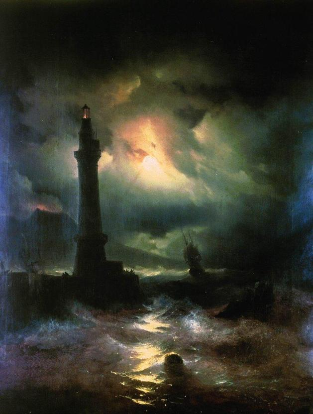 Ivan Aivazovsky - Neapolitan Lighthouse -- 1842