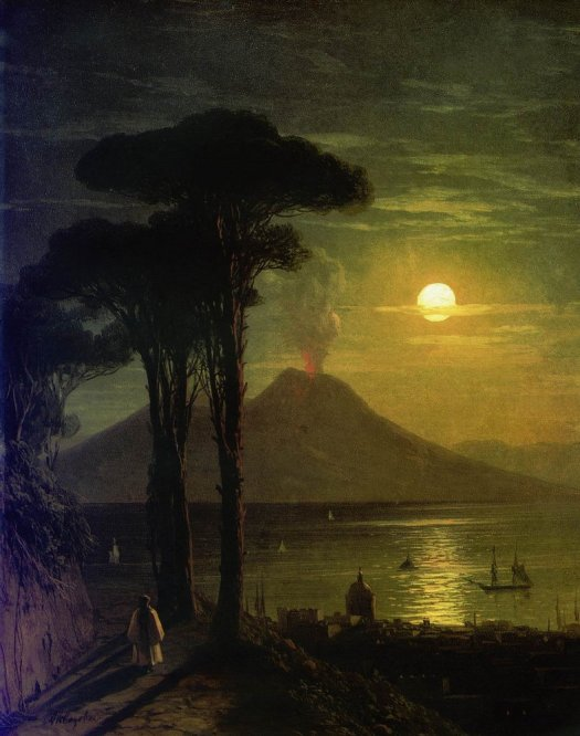 Ivan Aivazovsky - The Bay Of Naples at Moonlit Night Vesuvius-1840