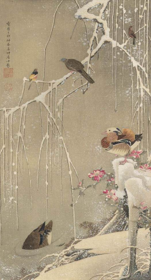 Ito Jakuchu - Willow Tree and Mandarin Ducks in the Snow