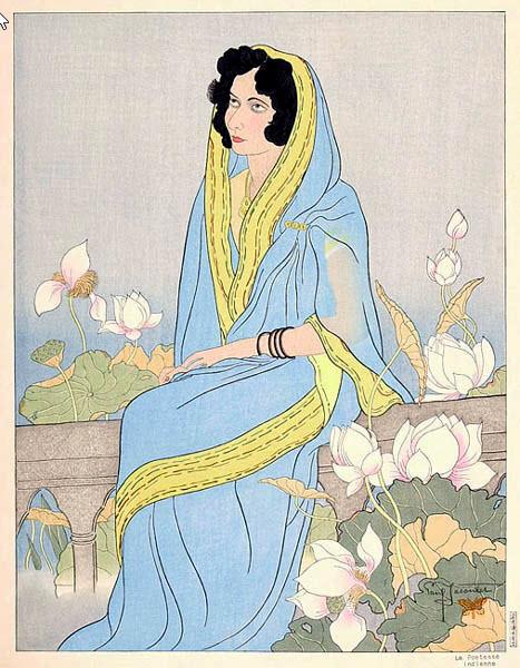 Paul Jacoulet - La Poetesse Indienne - 1941
