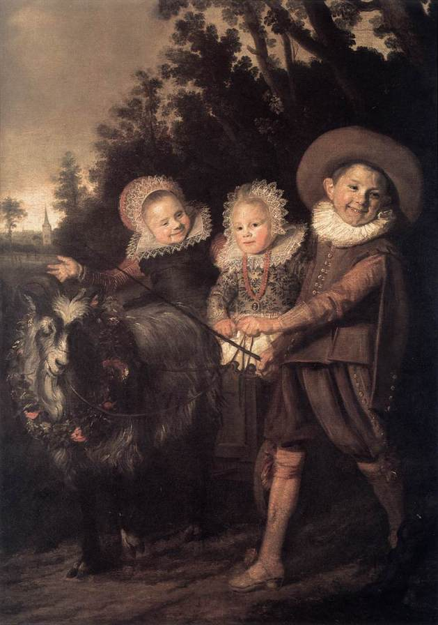 Frans Hals - Three Children with a Goat Cart 1620