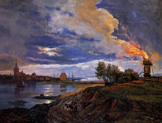 Johan Christian Dahl - Brennende mølle, Stege