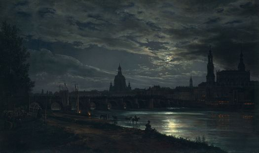 Johan Christian Dahl - View of Dresden by Moonlight