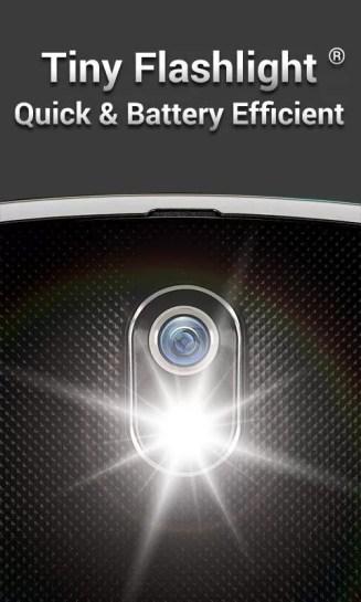 1 2 - برنامج تقوية ضوء فلاش الكاميرا للاندرويد Tiny Flashlight