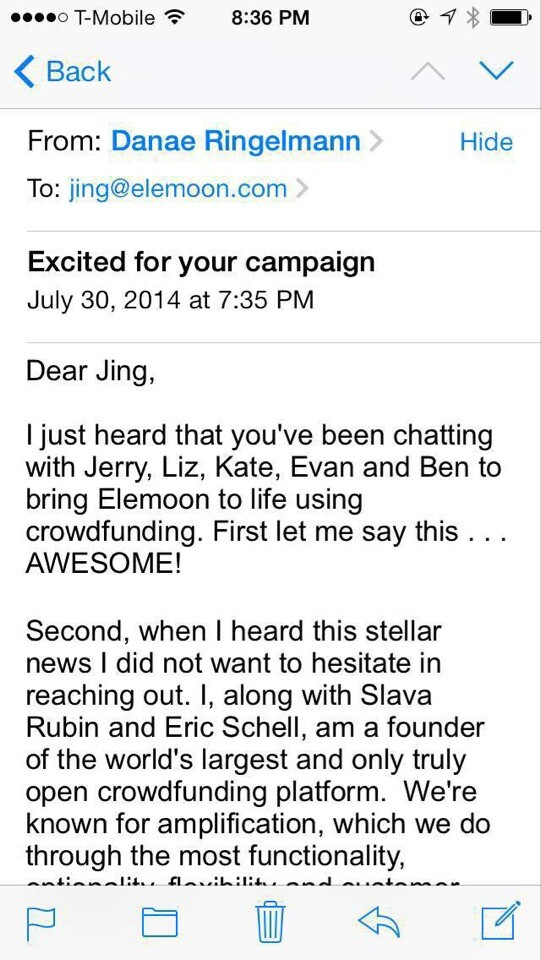 Indiegogo founder Danae Ringelmann reportedly reached out to Jing Zhou herself in an attempt to win over elemoon's business. (Picture credit to www.leiphone.com)
