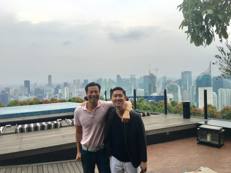 Founding partners of Intudo Ventures, Eddy Chan based in Silicon Valley and Patrick Yip based in Indonesia standing in front of Jakarta skyline (Image Credit: Intudo Ventures)