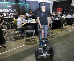 Zhang Junheng from Basement Hackers testing their Rodog prototype (Image credit: TechNode)