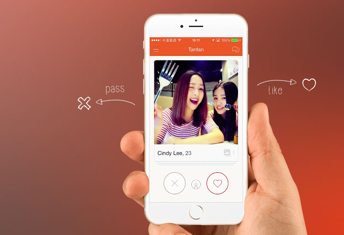Users can swipe the screen right to 'like' the match, and swipe left to 'pass' the match (Image Credit: Tantan)