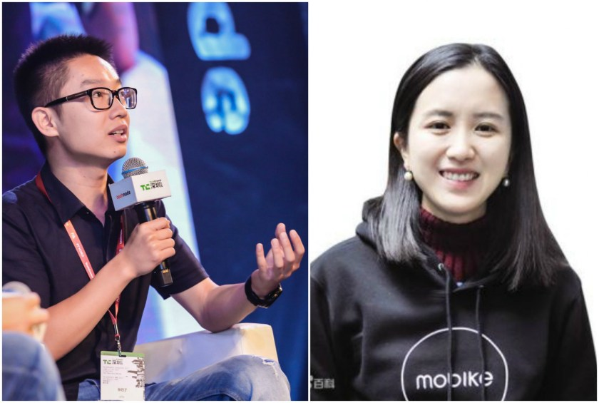 Co-founder of ofo Austin Zhang (left) and co-founder of Mobike Weiwei Hu.