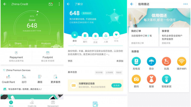 Sesame Score tracks five areas: identity information, such as information on users' education and work, ability to keep financial obligations, credit history, behavioral preferences like shopping, money transfers etc., and connections with other people. Screenshot from Alipay.