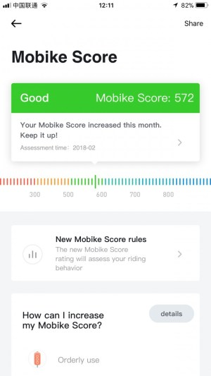 Mobike credit score