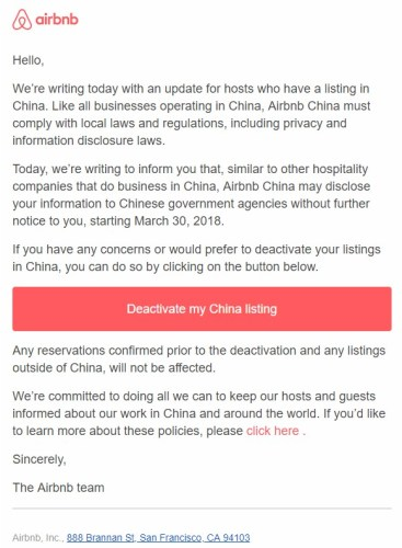 Airbnb China notifies hosts they may begin sharing their information