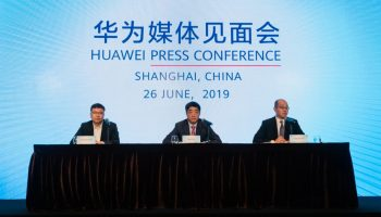 Huawei's deputy chairman Ken Hu and president of its 5G product line Yang Chaobin spoke at MWC Shanghai on June 26, 2019. (Image credit: TechNode/Eugene Tang)