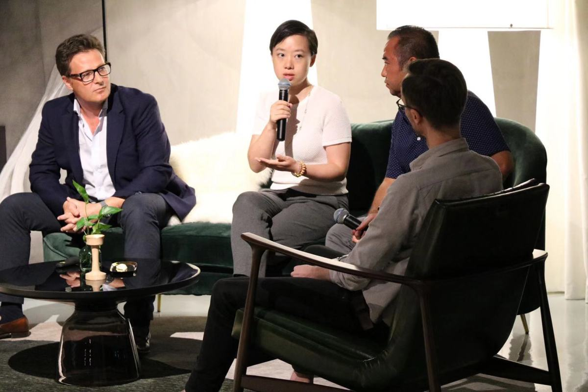 In this image from TechNode, (left to right) Rupert Mitchell, Chief Strategy Officer of WM Motor, Zhang Li, partner of Cathay Capital, Tu T.Le, managing director of Sino Auto Insights, and Chris Udemans, TechNode reporter, spoke at TechNode Tech After Hours Series in Shanghai on Thursday, August 22, 2019. (Image credit: TechNode)