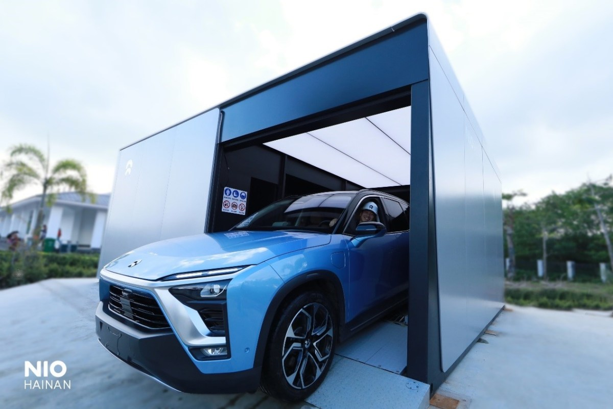 A Nio's battery swap station in Haikou, capital of southern island province of Hainan (Image credit: Nio)