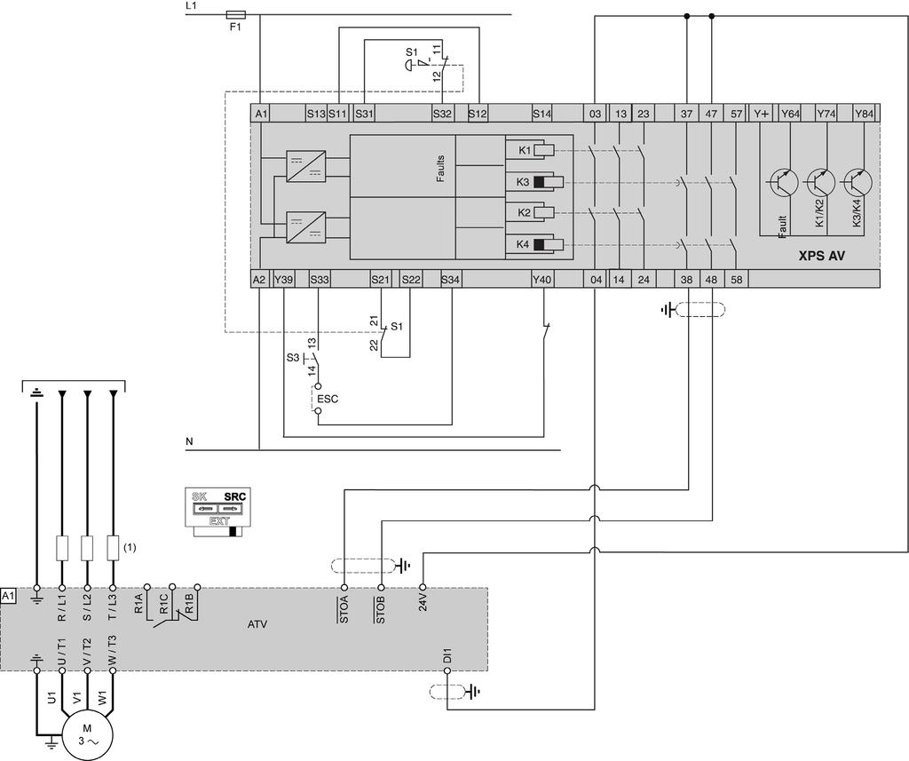 cu240e 2 wiring diagram fight or flight stress response altivar process variable speed drives atv630 atv650 atv660 atv680 system sf case 3 connection for single drive with safety module type preventa