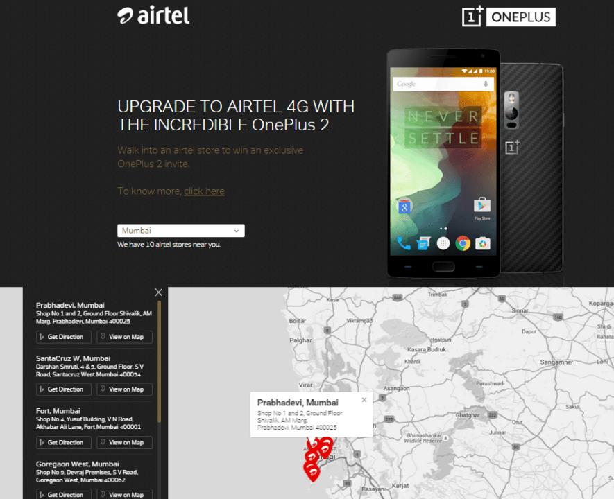 Airtel Store OnePlus 2 invites