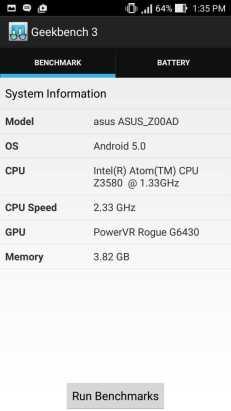 GeekBench 3 phone info